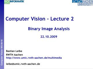 Computer Vision – Lecture 2