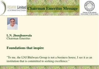 Chairman Emeritus Message