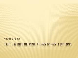 Top 10 Medicinal Plants and Herbs
