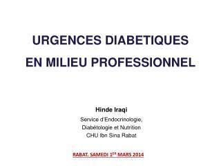 URGENCES DIABETIQUES  EN MILIEU PROFESSIONNEL