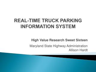 REAL-TIME TRUCK PARKING INFORMATION SYSTEM