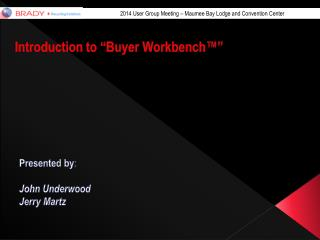 Introduction to �Buyer  Workbench��