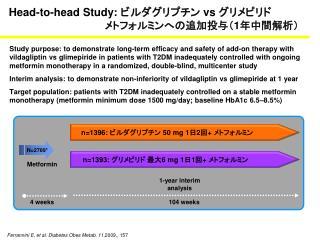 Head-to-head Study:  ビルダグリプチン  vs  グリメピリド メトフォルミンへの追加投与( 1 年中間解析)