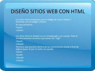 DISEÑO SITIOS WEB CON HTML