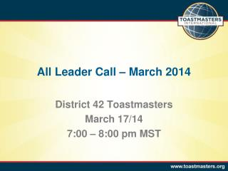 All Leader Call – March 2014