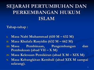 SEJARAH PERTUMBUHAN DAN PERKEMBANGAN HUKUM ISLAM