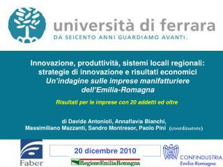 Innovazione, produttività, sistemi locali regionali: