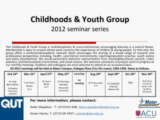 Childhoods & Youth Group 2012 seminar series