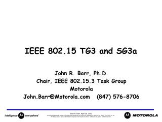 IEEE 802.15 TG3 and SG3a