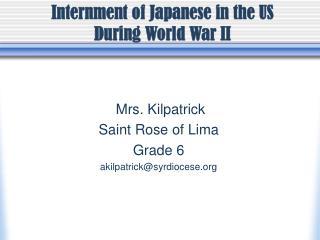 Mrs. Kilpatrick Saint Rose of Lima Grade 6 akilpatrick@syrdiocese