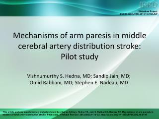 Mechanisms of arm paresis in middle cerebral artery distribution stroke:  Pilot study