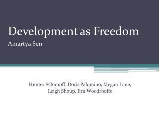 Development as Freedom  Amartya Sen