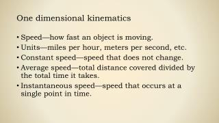 One dimensional kinematics