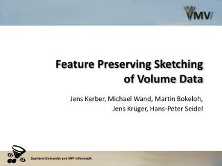 Feature Preserving Sketching of Volume Data
