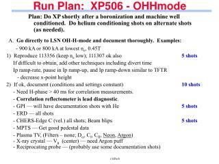 Run Plan:  XP506 - OHHmode