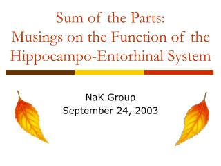 Sum of the Parts: Musings on the Function of the Hippocampo-Entorhinal System