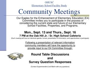 OHUSC Elementary School Facility Study Community Meetings