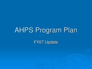 AHPS Program Plan