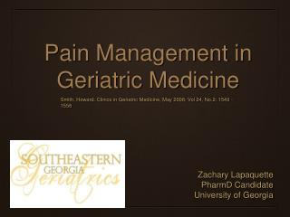 Pain Management in Geriatric Medicine