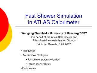 Fast Shower Simulation  in ATLAS Calorimeter