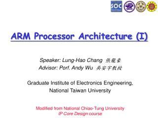 ARM Processor Architecture (I)