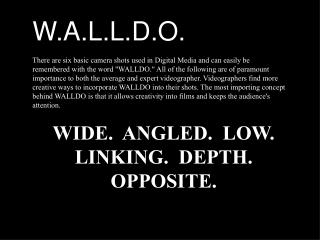WIDE.  ANGLED.  LOW.  LINKING.  DEPTH. OPPOSITE.