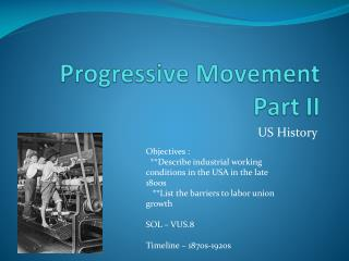 Progressive Movement Part II