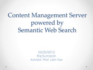 Content Management Server  powered by  Semantic Web Search