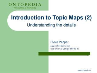 Introduction to Topic Maps (2) Understanding the details