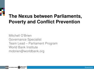 The Nexus between Parliaments, Poverty and Conflict Prevention