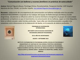 """""""Comunicación con ballenas y escenas familiares en prácticas de autocuidado"""""""