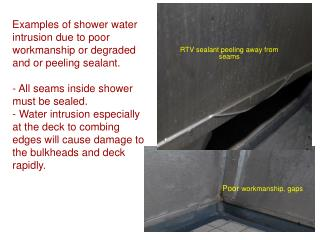 Examples of shower water intrusion due to poor workmanship or degraded and or peeling sealant.