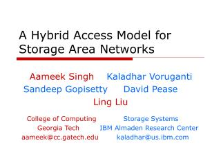 A Hybrid Access Model for Storage Area Networks