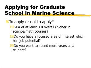Applying for Graduate School in Marine Science