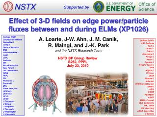 Effect of 3-D fields on edge power/particle fluxes between and during ELMs (XP1026)