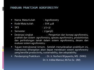 PANDUAN PRAKTIKUM AGROFORESTRY
