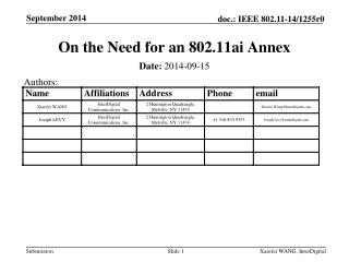 O n the Need for an 802.11ai Annex