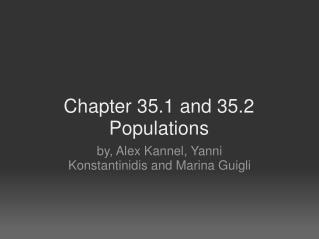 Chapter 35.1 and 35.2 Populations
