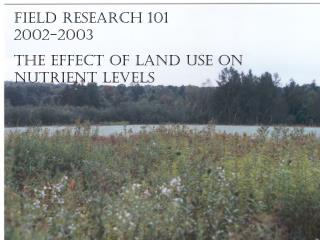 Field Research 101 2002-2003 The effect of Land use on nutrient levels