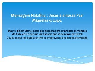 Mensagem Natalina  :   Jesus é a nossa Paz! Miquéias 5: 2,4,5.