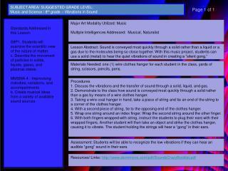 Major Art Modality Utilized: Music Multiple Intelligences Addressed:  Musical , Naturalist