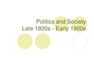 Politics and Society Late 1800s - Early 1900s