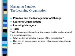 Managing Paradox The Learning Organisation