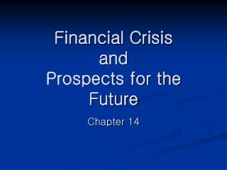 Financial Crisis  and  Prospects for the Future