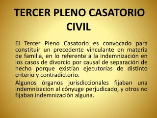 TERCER PLENO CASATORIO CIVIL