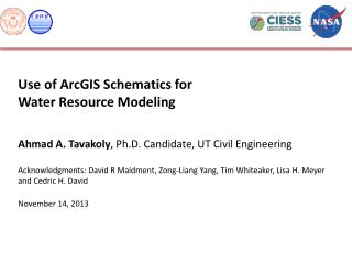 Use of ArcGIS Schematics for  Water Resource Modeling