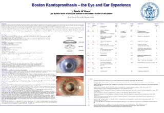 Boston Keratoprosthesis – the Eye and Ear Experience J Brady, W Power