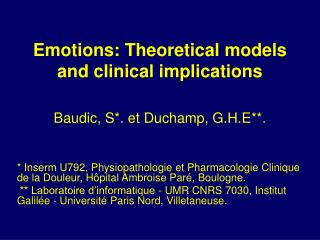 Emotions: Theoretical models and clinical implications