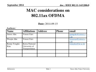 MAC considerations on 802.11ax OFDMA