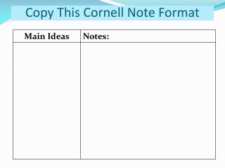 Copy This Cornell Note Format